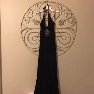 Sky black halter dress